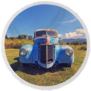 Old Blue Truck Vermont Round Beach Towel