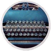 Old Blue Typewriter Round Beach Towel