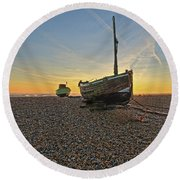 Old Boat, New Day Round Beach Towel
