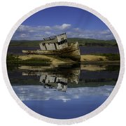 Old Boat Reflection Round Beach Towel