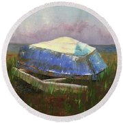 Old Boat Round Beach Towel