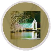 Old Boathouse Round Beach Towel