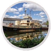 Old Boats Along The Exeter Canal 2 Round Beach Towel
