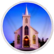 Old Bodega Church Sunset Round Beach Towel