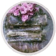Old Books And Pink Roses Round Beach Towel