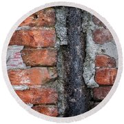 Old Brick Wall Abstract Round Beach Towel