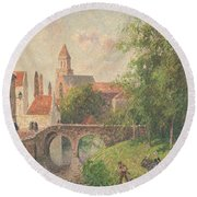 Old Bridge In Bruges  Round Beach Towel by Camille Pissarro