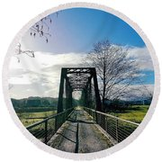 An Old Railroad Bridge  Round Beach Towel