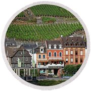 Old Buildings And Vineyards Round Beach Towel