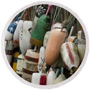 Old Buoys Hanging Out Round Beach Towel
