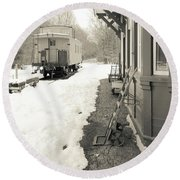 Old Caboose At Period Train Depot Winter Round Beach Towel