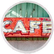 Old Cafe Sign Round Beach Towel