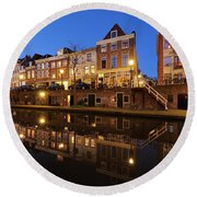 Old Canal In Utrecht At Dusk 211 Round Beach Towel