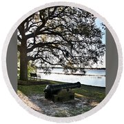 Old Cannon By The Sea Round Beach Towel