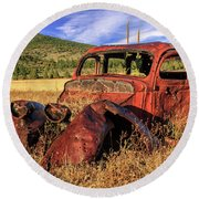 Old Car At Susanville Ranch Round Beach Towel