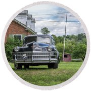 Old Car In Front Of House Round Beach Towel