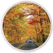 Old Car Tour To Copper Harbor Round Beach Towel
