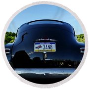 Old Car Trunk With Artistic Background Round Beach Towel