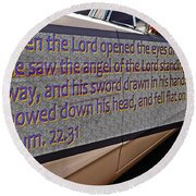 Old Car With Text Round Beach Towel
