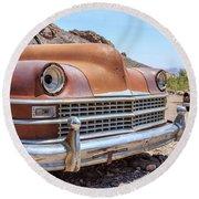 Old Cars In The Desert, Eldorado Canyon, Nevada Round Beach Towel by Edward Fielding
