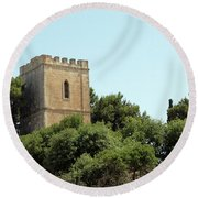 Old Castle In Hebron Round Beach Towel