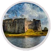 Old Castle Round Beach Towel