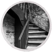 Old Castle Stairway Round Beach Towel