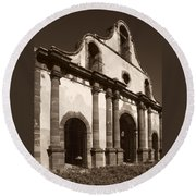 Old Catholic Mission Ghost Town Round Beach Towel