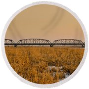Old Cedar Road Bridge Round Beach Towel