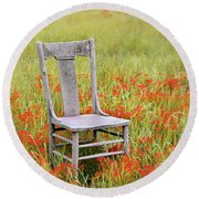 Old Chair In Wildflowers Round Beach Towel