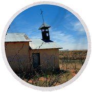 Old Chapel On Route 66 In Newkirk Nm Round Beach Towel