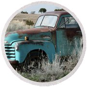 Old Chevy Farm Truck In The Field Round Beach Towel