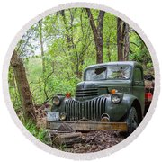 Old Chevy Oil Truck 1  Round Beach Towel
