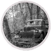 Old Chevy Oil Truck 2 Round Beach Towel