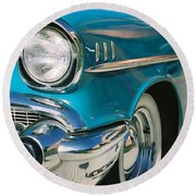 Old Chevy Round Beach Towel by Steve Karol