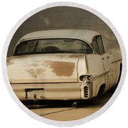 Old Cadillac In Sepia Tones Round Beach Towel