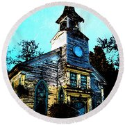Old Church At Oxford Maryland Round Beach Towel