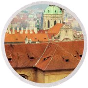 Old Church In Prague Round Beach Towel
