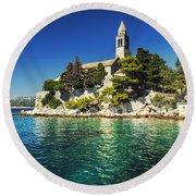 Old Church On Croatian Island Round Beach Towel