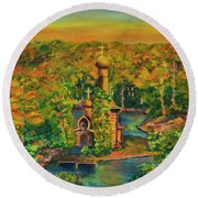Old Church On The River Round Beach Towel