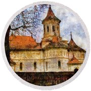 Old Church With Red Roof Round Beach Towel