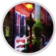 Old City Streets - Elfreth's Alley Round Beach Towel