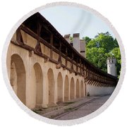 Old City Wall In St Alban Basel Switzerland Round Beach Towel