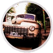 Old Classic Dodge, On The Streets Of Buenos Aires Round Beach Towel