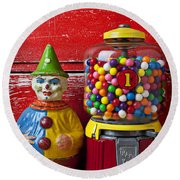 Old Clown Toy And Gum Machine  Round Beach Towel by Garry Gay