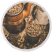 Old Coffee Brew House Beans Round Beach Towel