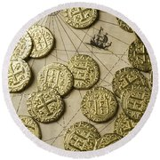Old Coins On Old Map Round Beach Towel