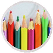 Old Colored Pencils Round Beach Towel
