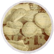 Old Cookie Tin Sign Art Round Beach Towel