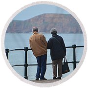 Old Couple Round Beach Towel